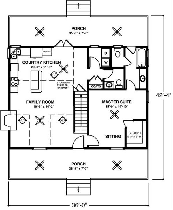 Farmhouse Floor Plan - Main Floor Plan Plan #56-242