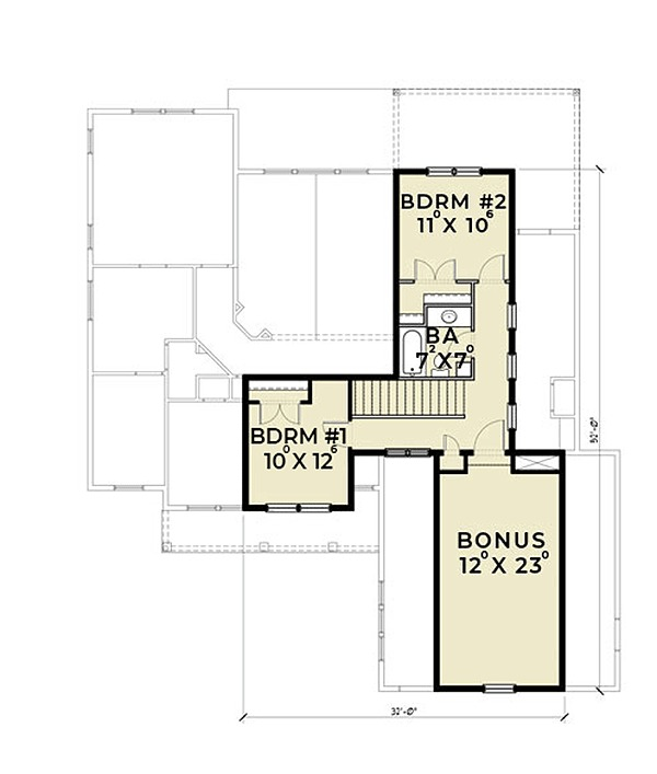Farmhouse Floor Plan - Upper Floor Plan Plan #1070-2
