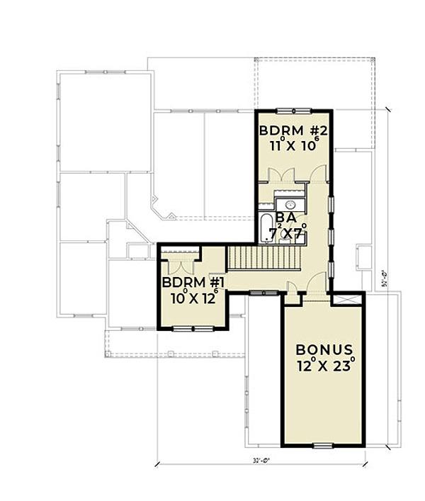Farmhouse Floor Plan - Upper Floor Plan Plan #1070-2