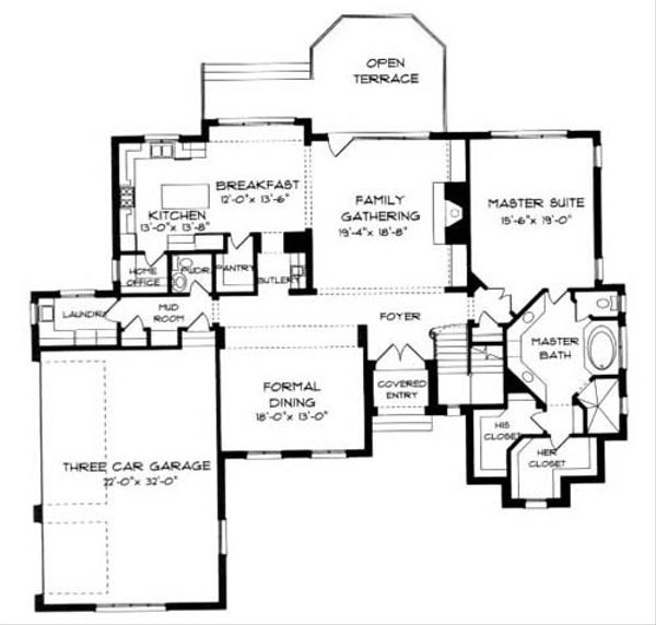 European Floor Plan - Main Floor Plan Plan #413-121