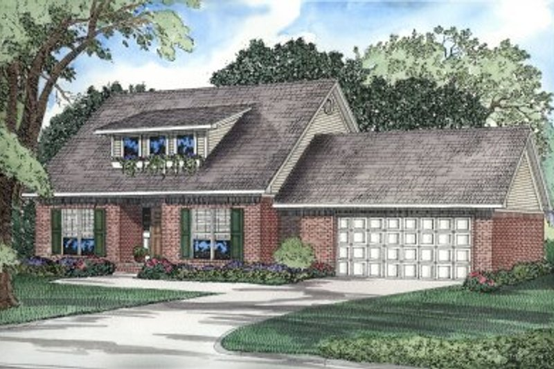 Colonial Style House Plan - 3 Beds 2.5 Baths 1713 Sq/Ft Plan #17-237 Exterior - Front Elevation