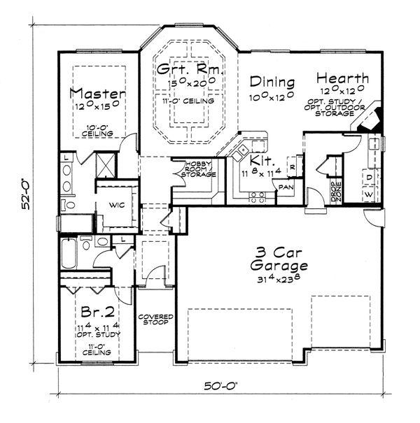 Craftsman Floor Plan - Main Floor Plan #20-2115