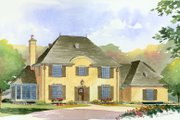 European Style House Plan - 4 Beds 3.5 Baths 3717 Sq/Ft Plan #901-90 Exterior - Front Elevation