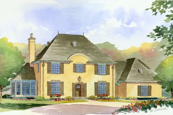 European Exterior - Front Elevation Plan #901-90