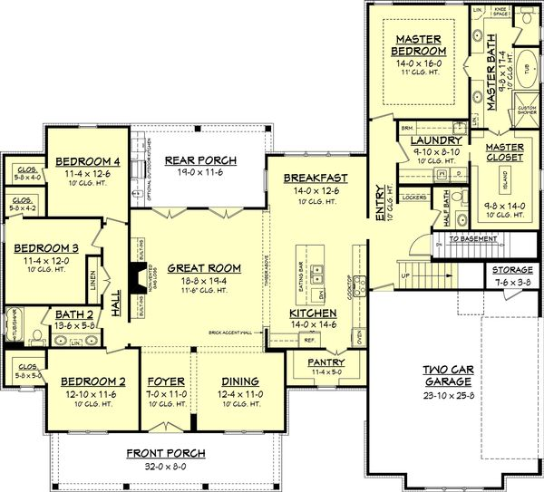 Architectural House Design - Optional Basement Stair Location