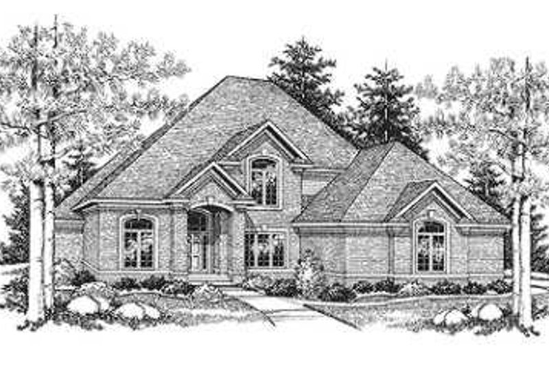 European Style House Plan - 4 Beds 3.5 Baths 3040 Sq/Ft Plan #70-478 Exterior - Front Elevation