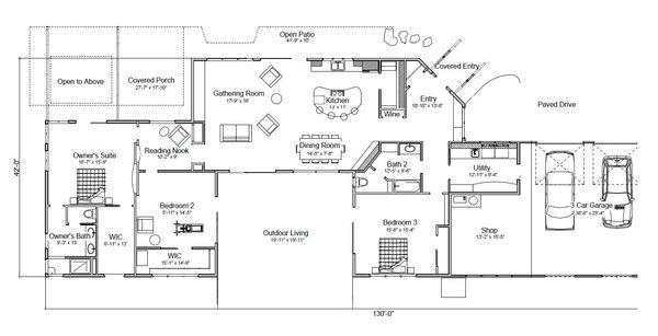 Modern Style House Plan - 3 Beds 2 Baths 2559 Sq/Ft Plan #451-17 Floor Plan - Main Floor Plan