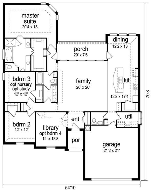 Traditional Floor Plan - Main Floor Plan Plan #84-605