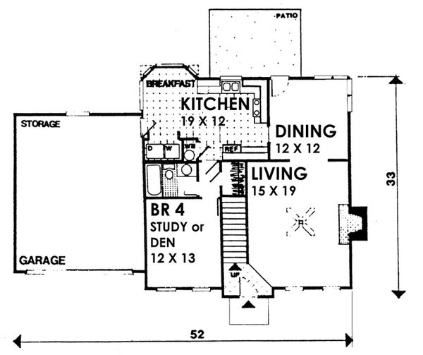 Colonial Floor Plan - Main Floor Plan Plan #30-206
