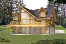 House Design - Log Exterior - Front Elevation Plan #117-411
