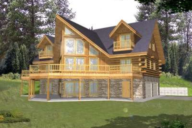 Log Style House Plan - 3 Beds 3 Baths 3219 Sq/Ft Plan #117-411 Exterior - Front Elevation