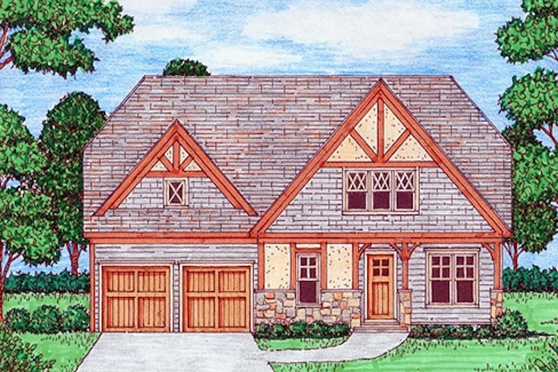 Tudor Exterior - Front Elevation Plan #413-881