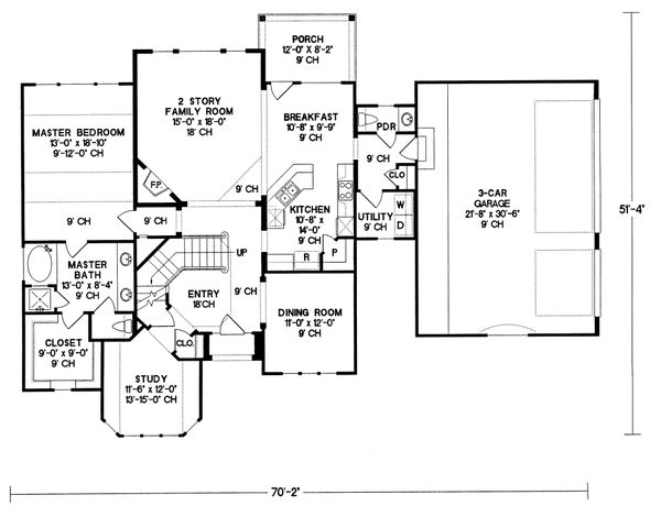 House Plan Design - European Floor Plan - Main Floor Plan #20-261