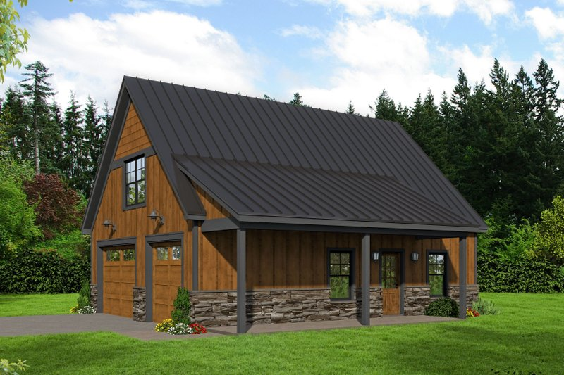 Cabin Exterior - Front Elevation Plan #932-285
