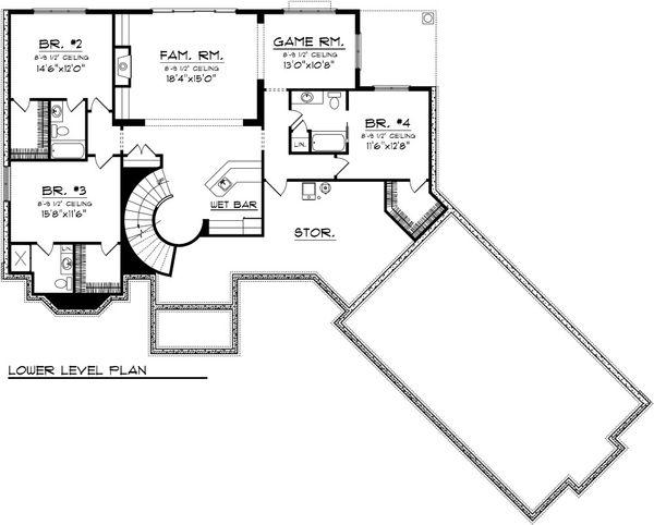 Traditional Floor Plan - Lower Floor Plan Plan #70-1091