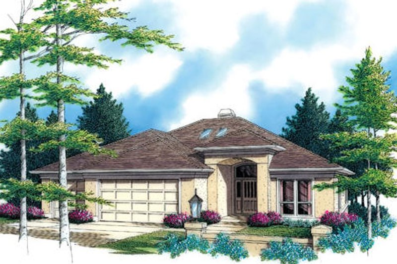 Mediterranean Exterior - Front Elevation Plan #48-426