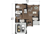Contemporary Style House Plan - 3 Beds 2 Baths 1588 Sq/Ft Plan #25-4324 Floor Plan - Main Floor