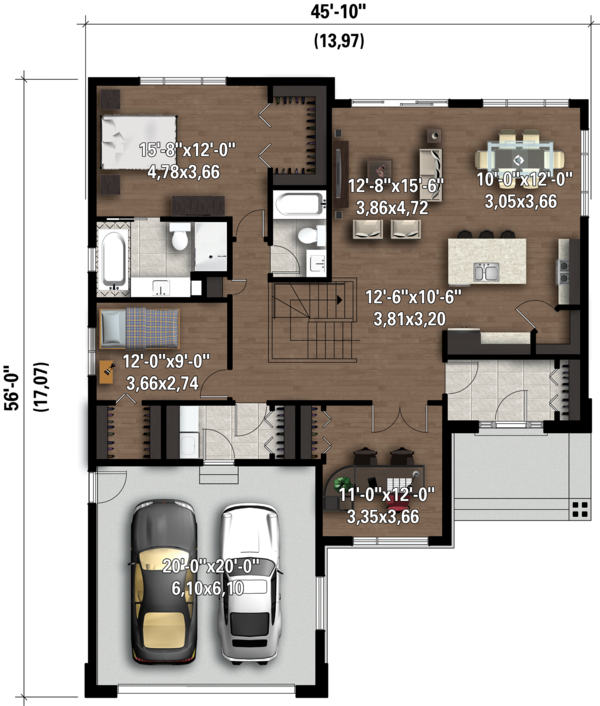 Contemporary Floor Plan - Main Floor Plan Plan #25-4324