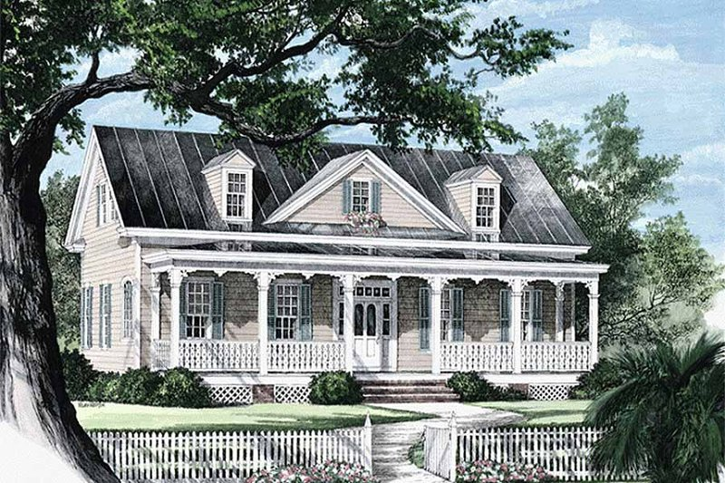 Southern Exterior - Front Elevation Plan #137-208 - Houseplans.com