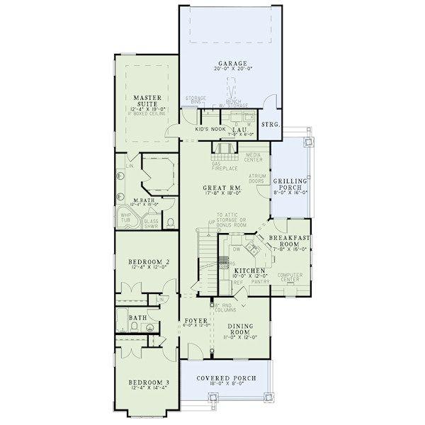Craftsman Floor Plan - Main Floor Plan #17-2411