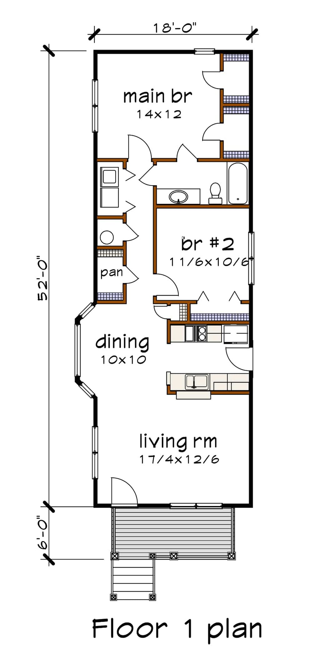 Cottage Style House Plan 2 Beds 1 Baths 955 Sq Ft Plan 79 104 Dreamhomesource Com