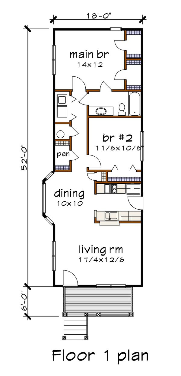 House Plan Design - Cottage Floor Plan - Main Floor Plan #79-104