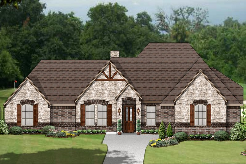 Dream House Plan - Tudor Exterior - Front Elevation Plan #84-609