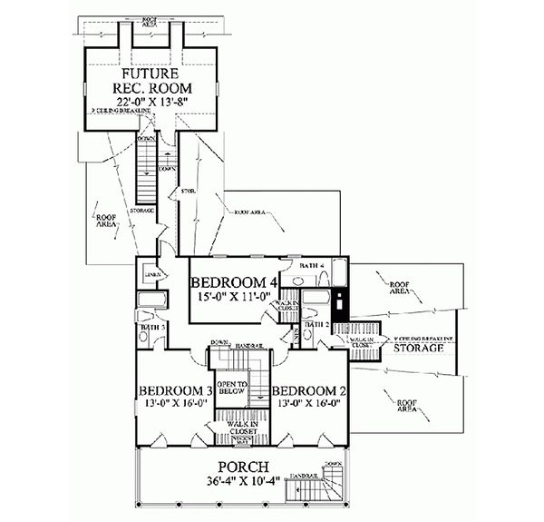 Colonial Floor Plan - Upper Floor Plan Plan #137-144