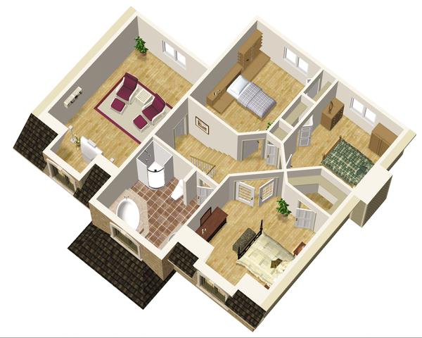 European Floor Plan - Upper Floor Plan Plan #25-4680