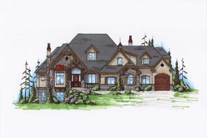 European Exterior - Front Elevation Plan #5-439