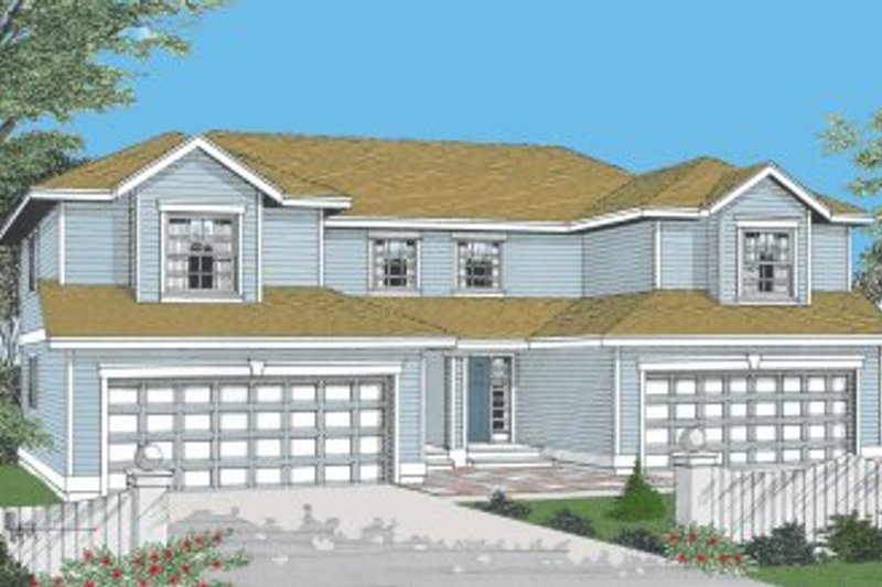 Traditional Style House Plan - 3 Beds 2.5 Baths 2796 Sq/Ft Plan #96-203 Exterior - Front Elevation
