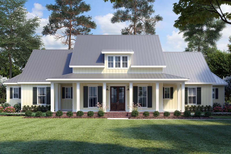 Farmhouse Style House Plan - 3 Beds 3.5 Baths 2435 Sq/Ft Plan #1074-4 Exterior - Front Elevation