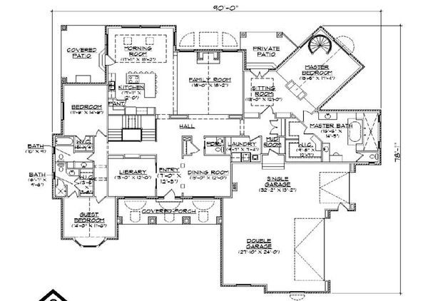Colonial Floor Plan - Main Floor Plan Plan #5-336