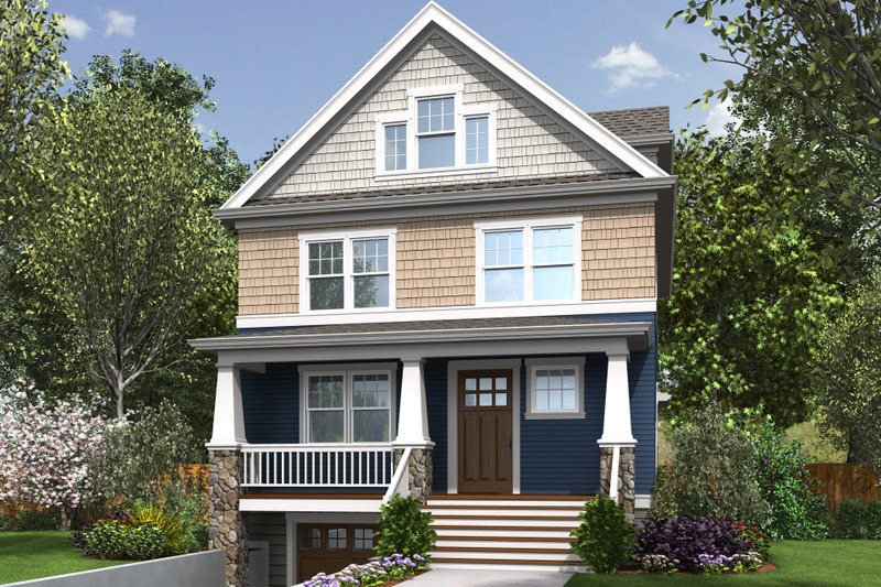 Craftsman Style House Plan - 4 Beds 3.5 Baths 2543 Sq/Ft Plan #48-678 Exterior - Front Elevation