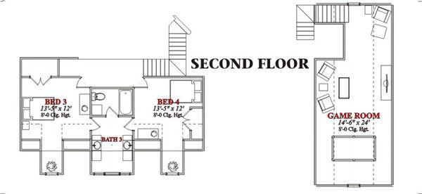 Country Floor Plan - Upper Floor Plan Plan #63-208