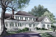Southern Style House Plan - 4 Beds 4.5 Baths 3728 Sq/Ft Plan #137-128 Exterior - Front Elevation