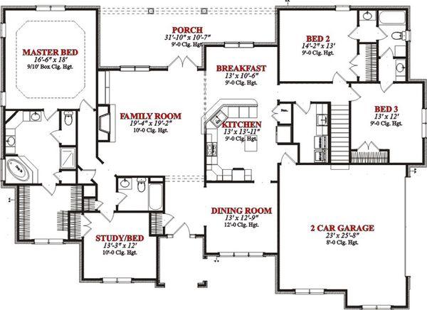 European Floor Plan - Main Floor Plan Plan #63-302