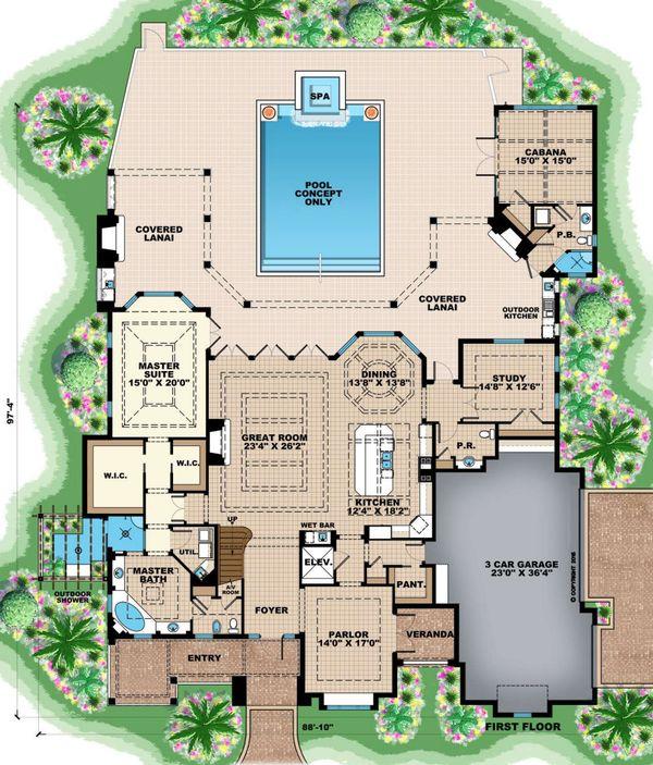 Country Floor Plan - Main Floor Plan Plan #27-547