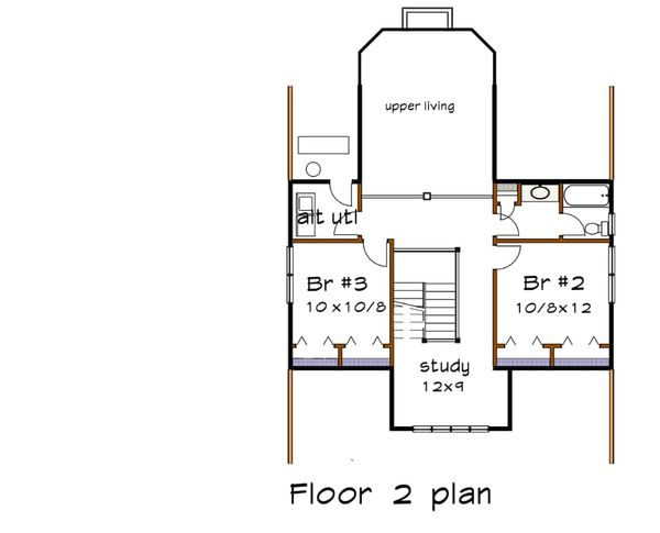 Craftsman Floor Plan - Upper Floor Plan Plan #79-259