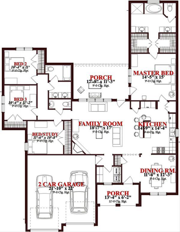 Traditional Floor Plan - Main Floor Plan Plan #63-304