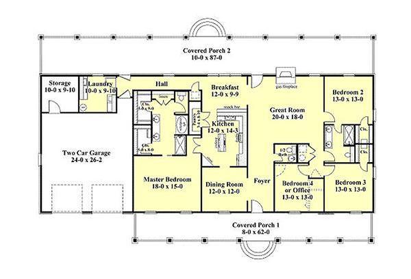 Southern Floor Plan - Main Floor Plan Plan #44-173