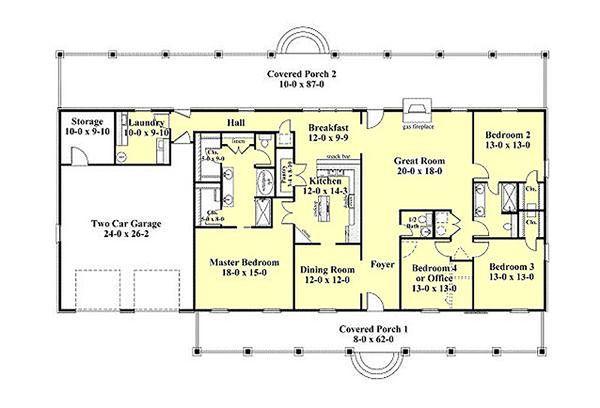Southern Floor Plan - Main Floor Plan Plan #44-173