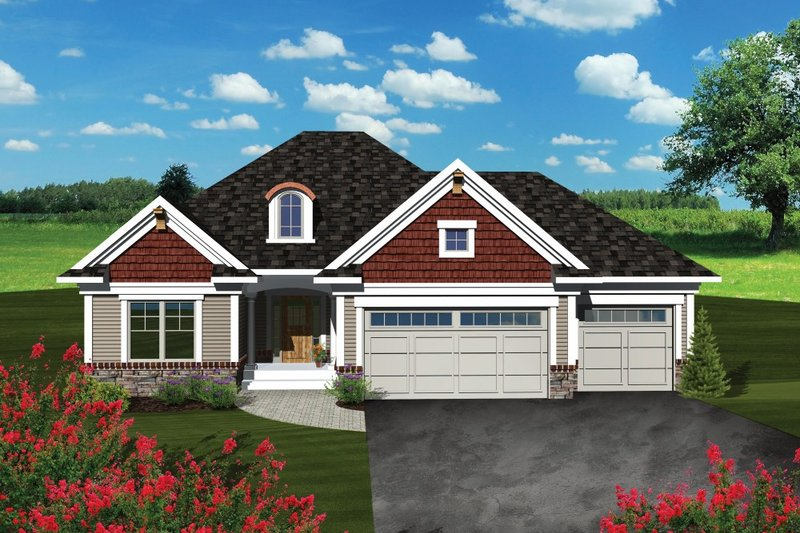 Architectural House Design - Traditional Exterior - Front Elevation Plan #70-1078