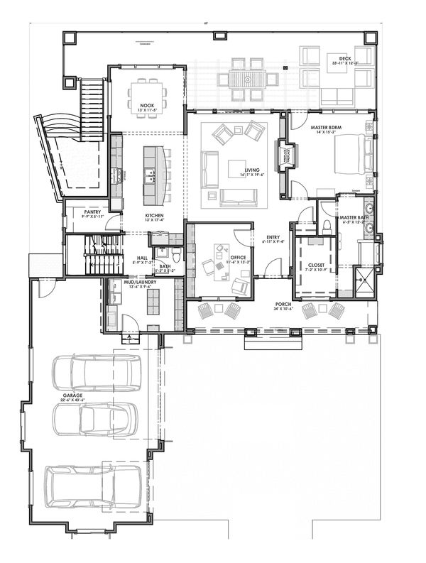 Modern Floor Plan - Main Floor Plan Plan #1069-9