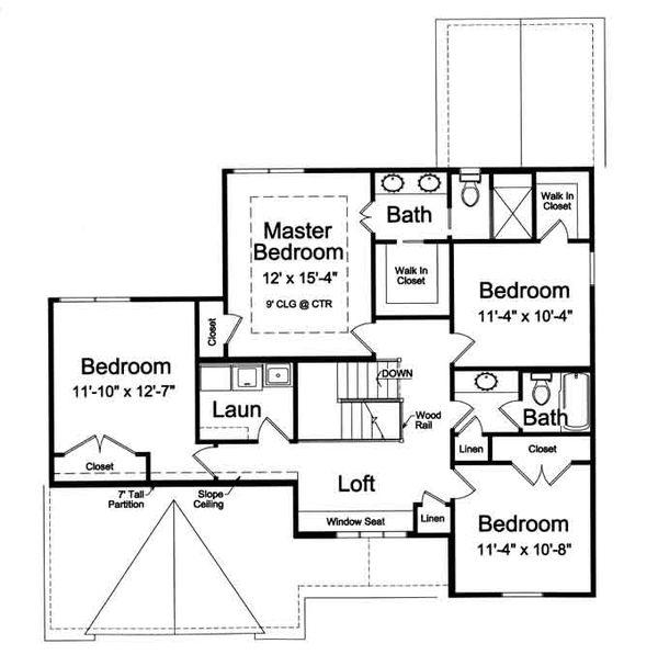Traditional Floor Plan - Upper Floor Plan Plan #46-492