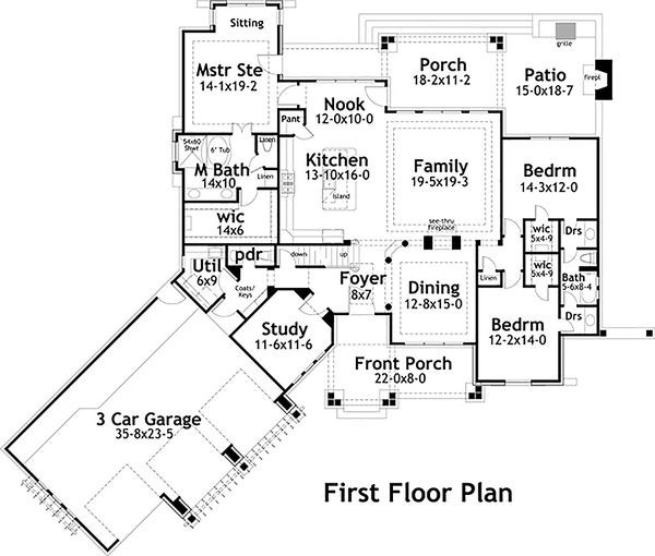 Craftsman Floor Plan - Main Floor Plan Plan #120-191