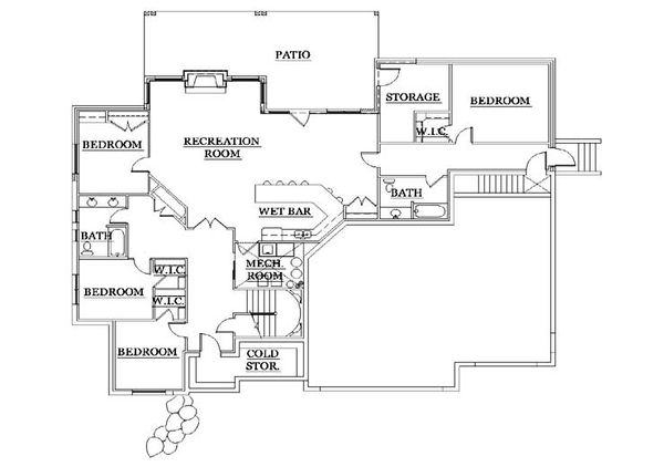 House Plan Design - European Floor Plan - Lower Floor Plan #5-368