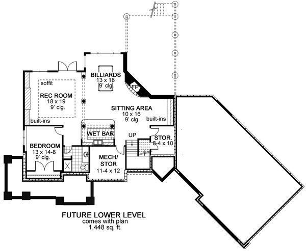 Craftsman Floor Plan - Lower Floor Plan Plan #51-464