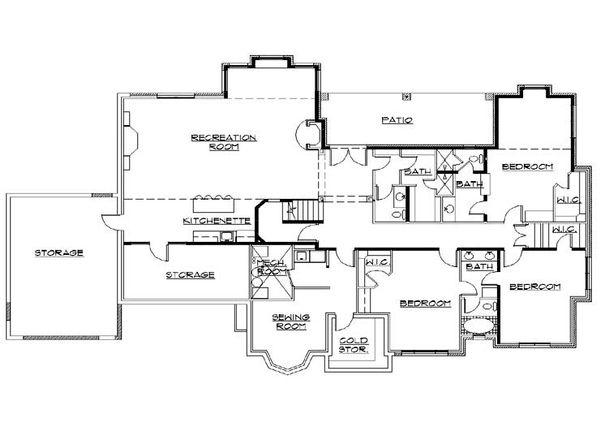 House Plan Design - European Floor Plan - Lower Floor Plan #5-341