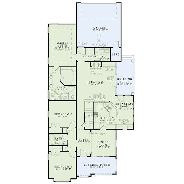 European Floor Plan - Main Floor Plan Plan #17-2412
